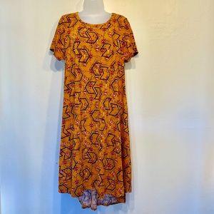 LulaRoe Burnt Orange Tribal Pocket T-Shirt Dress